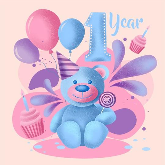 Free 1 Year Happy Birthday Image - birthdayimg.com