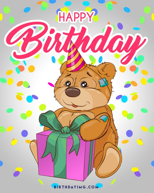 Free Happy Birthday Image with Bear - birthdayimg.com