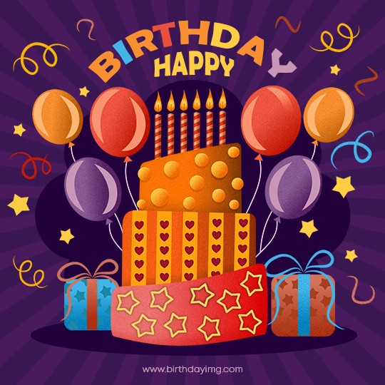 Free Happy Birthday Image with Cake - birthdayimg.com
