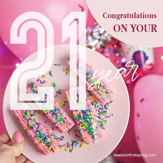 Free Pink Happy Birthday Image 21 Years - birthdayimg.com