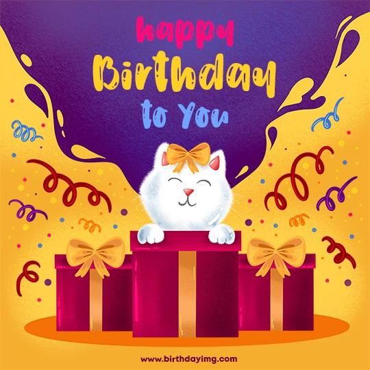 Free Funny Happy Birthday Image with Cat - birthdayimg.com