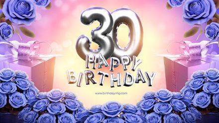 Free 30 Years Happy Birthday Wallpaper with Blue Roses - birthdayimg.com