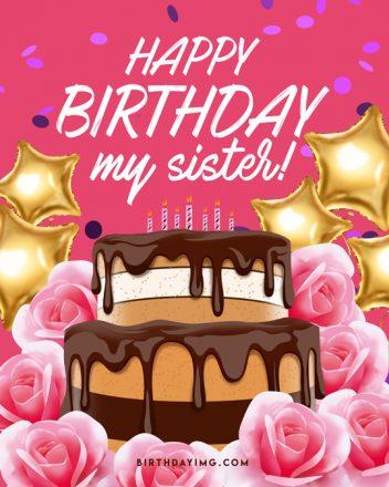 Free For Sister Happy Birthday Image with Cake - birthdayimg.com