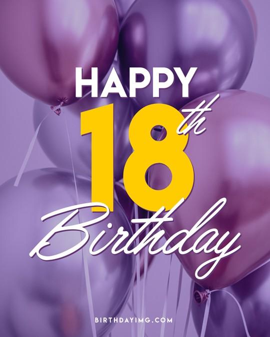 Free 18 Years Happy Birthday Image With Air Balloons - birthdayimg.com