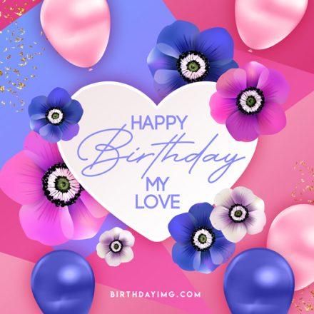 Free Happy Birthday Image with Heart and Flowers - birthdayimg.com