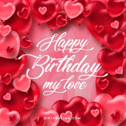 Free Happy Birthday Image with Red Hearts - birthdayimg.com