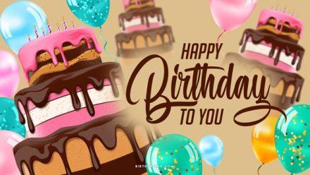 Free Happy Birthday Wallpaper with Cake and Balloons - birthdayimg.com