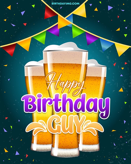 Free Happy Birthday Image For Guy with Beer - birthdayimg.com