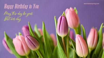 Free Purple Happy Birthday Wallpaper with Tulips - birthdayimg.com