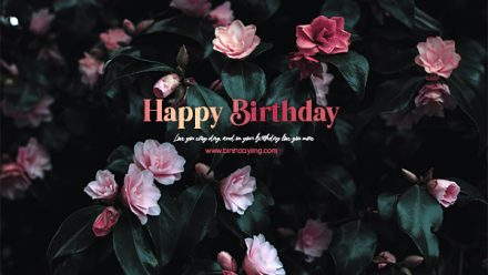 Free Dark Happy Birthday Wallpaper with Pink Flowers - birthdayimg.com