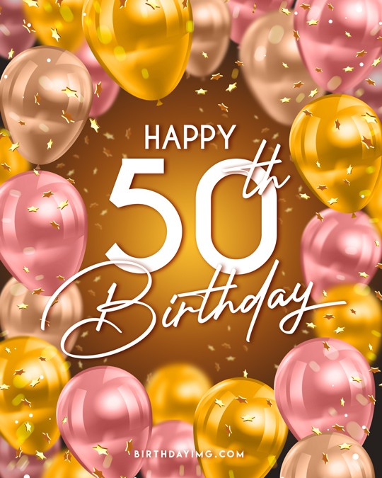 Free 50 Years Happy Birthday Image With Balloons - birthdayimg.com