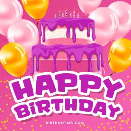 Free Happy Birthday Image with Cake and Balloons - birthdayimg.com