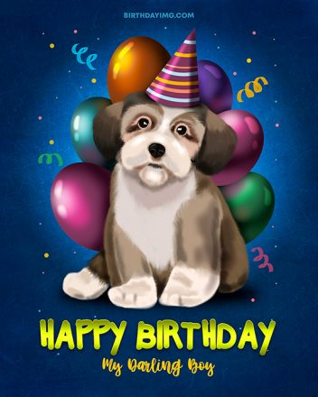 Free For Boy Happy Birthday Image with Puppy & Balloons - birthdayimg.com