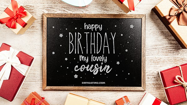 Free For Cousin Happy Birthday Wallpaper with Chalkboard - birthdayimg.com