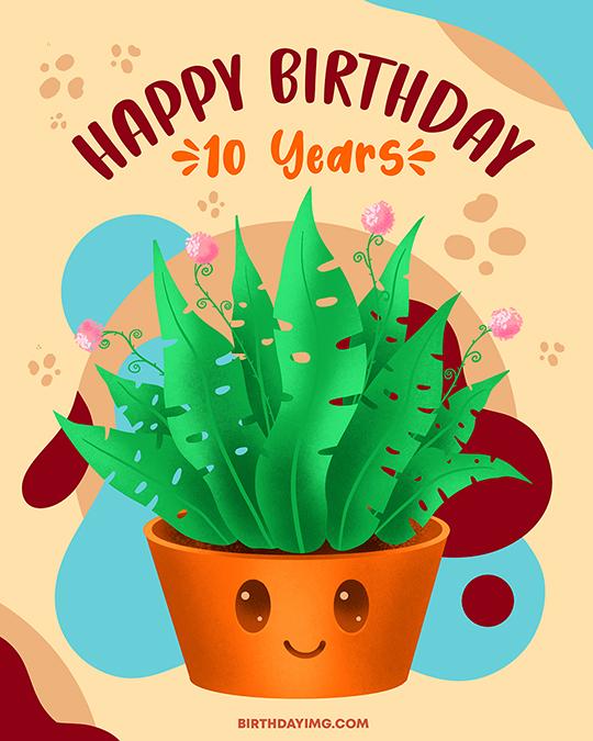 Free Cute Happy Birthday Image 10 Years - birthdayimg.com