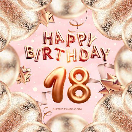 Free 18 Years Happy Birthday Image with Golden Balloons - birthdayimg.com