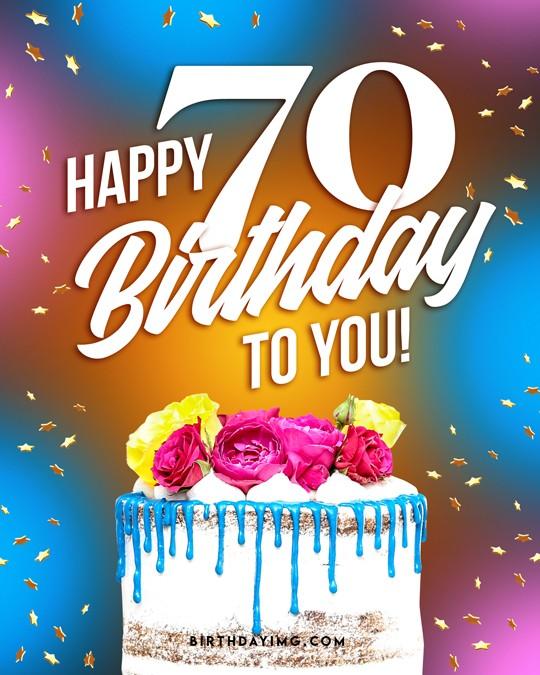 Free 70 Years Happy Birthday Image With Cake - birthdayimg.com
