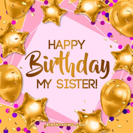 Free For Sister Happy Birthday Image With Balloons - birthdayimg.com