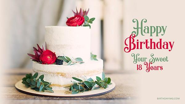 Free 18 Years Happy Birthday Wallpaper with Cake - birthdayimg.com