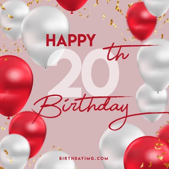 Free 20 Years Happy Birthday Image With Balloons - birthdayimg.com