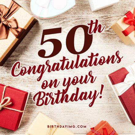 Free 50 Years Happy Birthday Image with Presents - birthdayimg.com