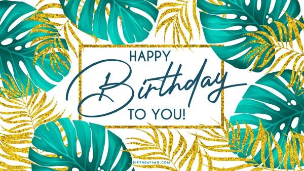 Free Happy Birthday Wallpaper with Palm Trees - birthdayimg.com