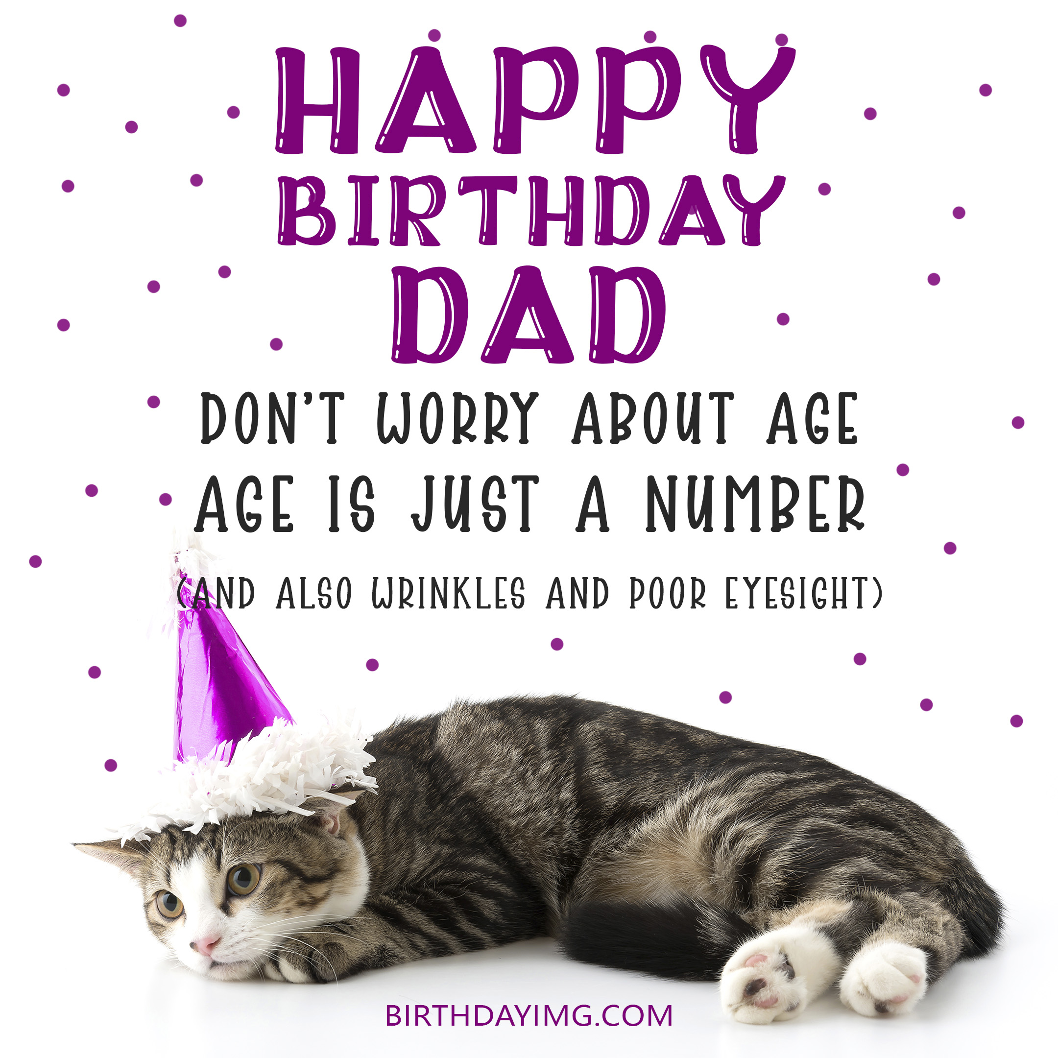 Free Happy Birthday and Image For Dad With Funny Cat - birthdayimg.com
