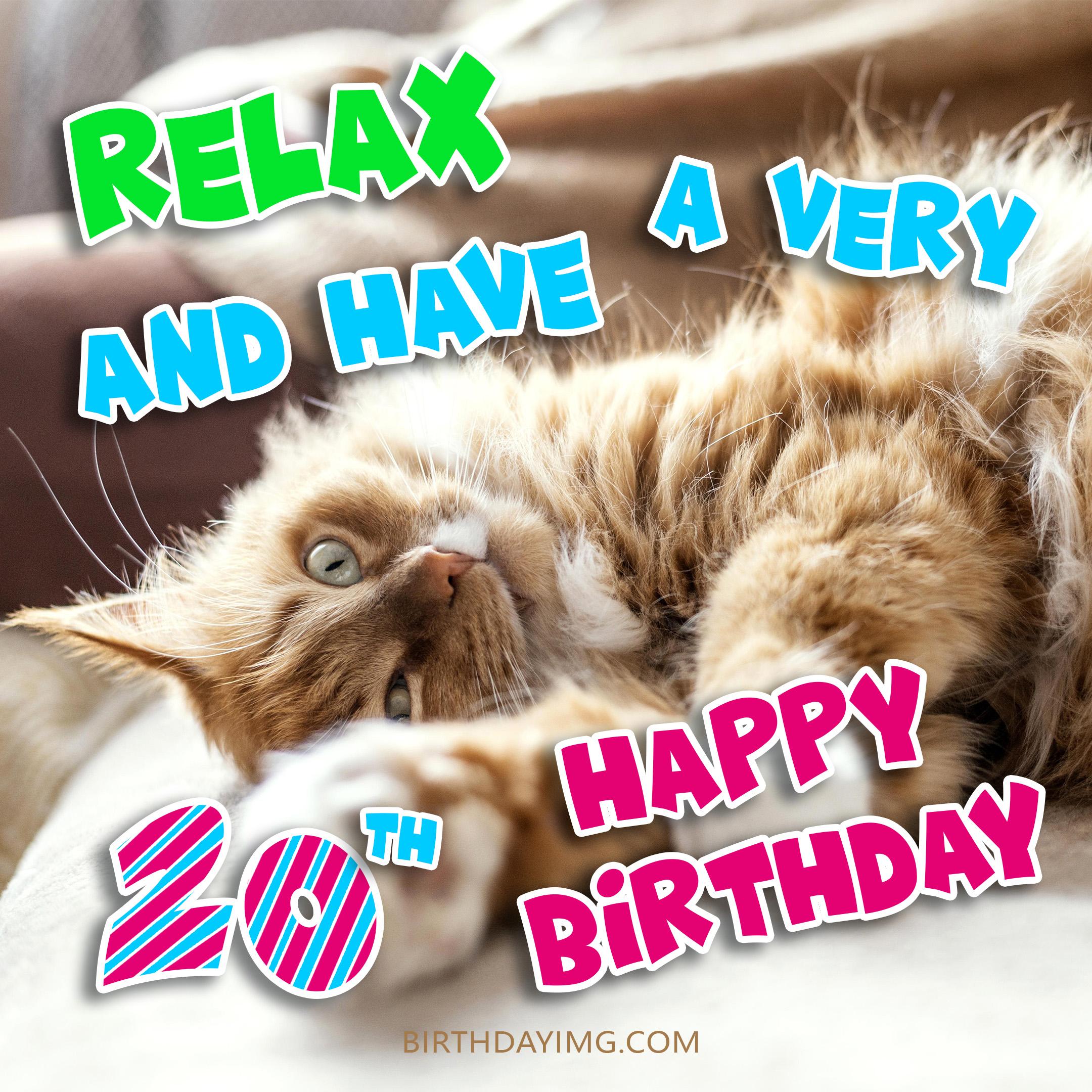 Free 20th Years Happy Birthday Image With Playful Cat - birthdayimg.com
