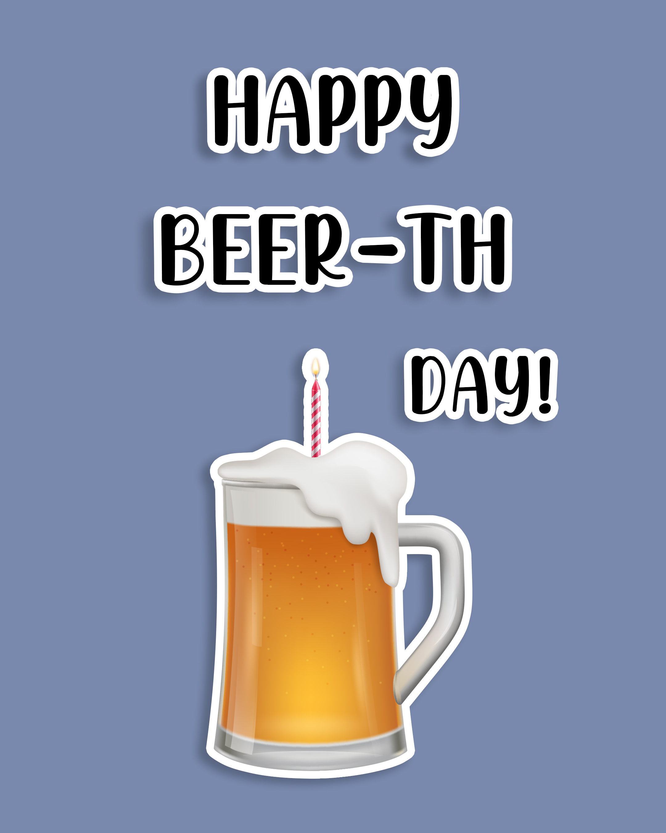 Free Funny Happy Birthday Image For Him (Man) With Beer - birthdayimg.com