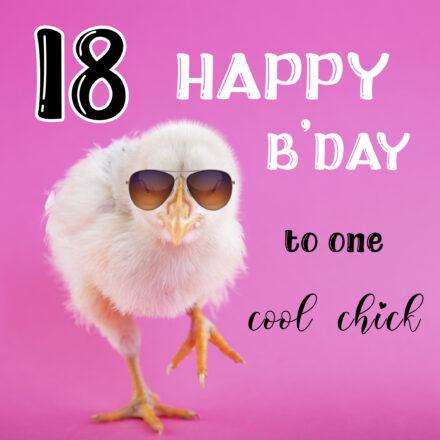 Free Funny 18th Years Happy Birthday Image With Chick - birthdayimg.com