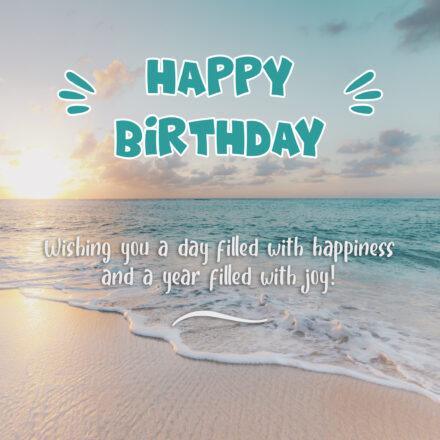 Free Happy Birthday Image With Beach and Sunset - birthdayimg.com