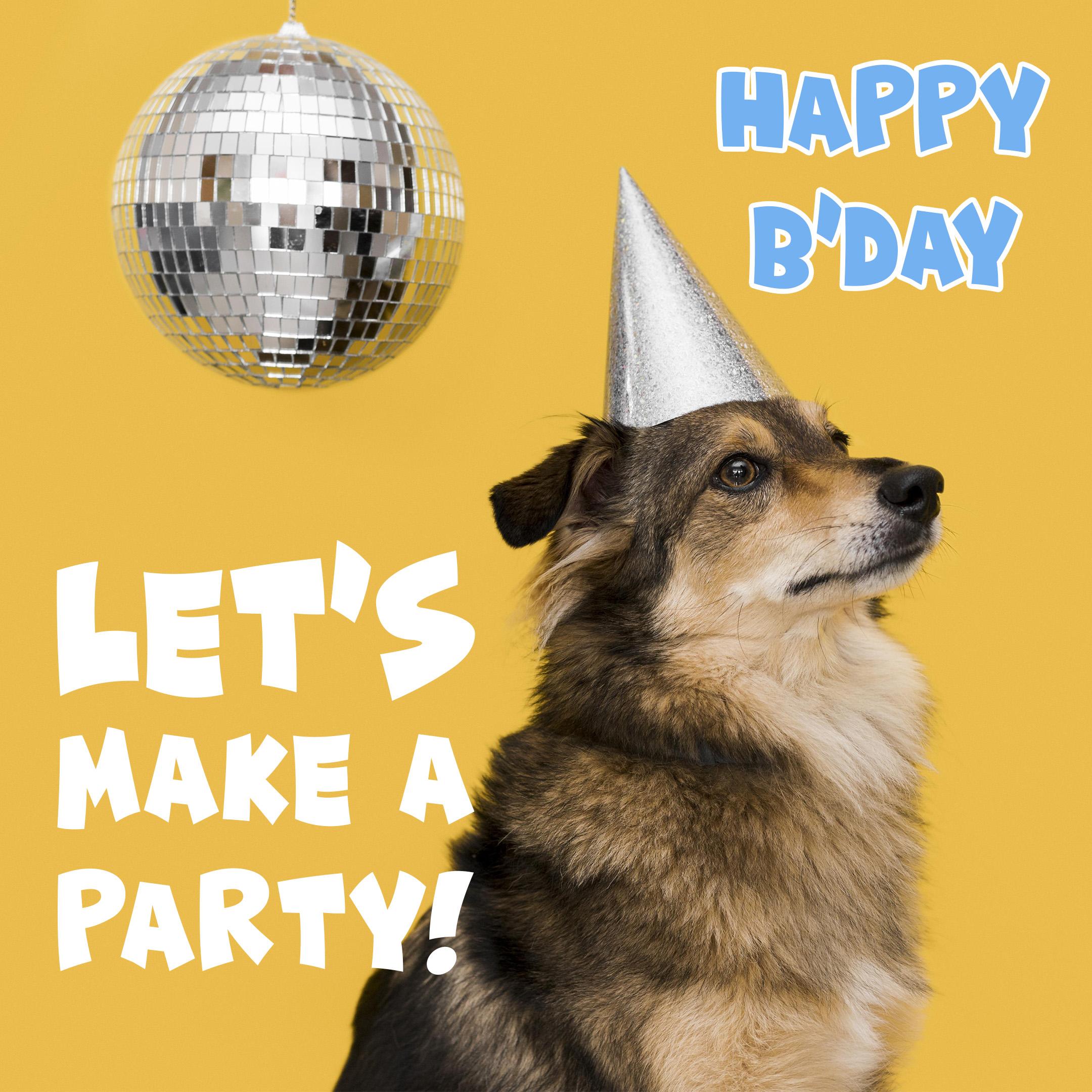 Free Funny Happy Birthday Image For Him (Man) With Dog - birthdayimg.com