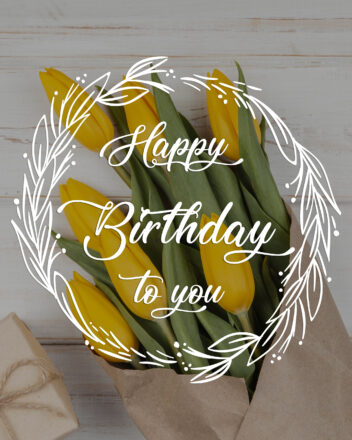 Free Happy Birthday Images For Her (Woman) With Yellow Flowers - birthdayimg.com