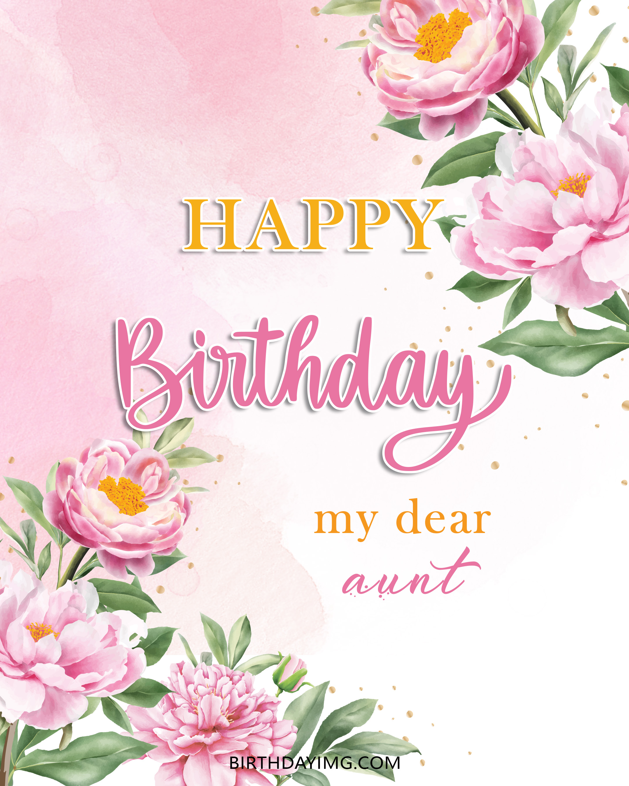 Free Happy Birthday Image For Aunt With Pink Flowers - birthdayimg.com