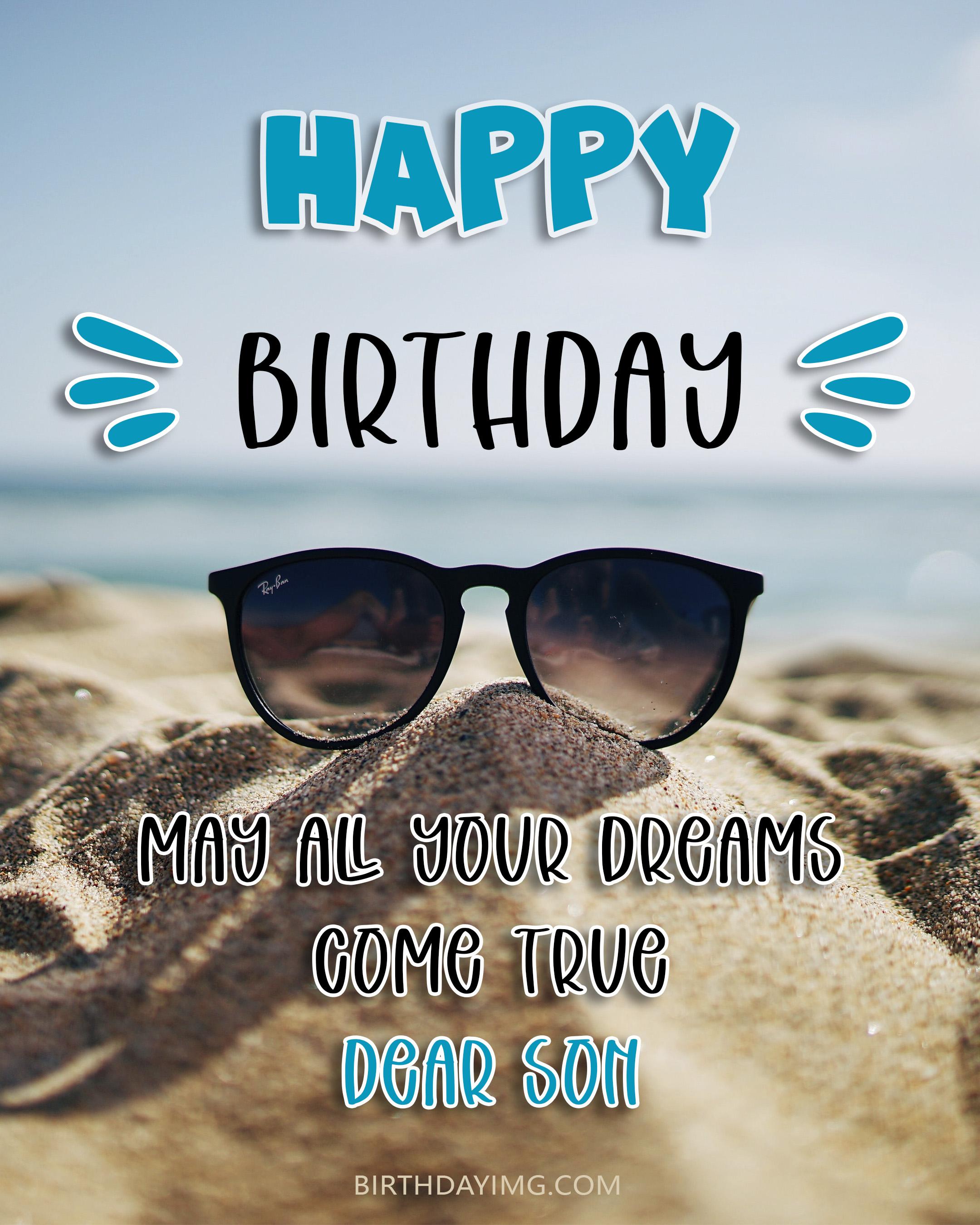 Free Happy Birthday Image For Son with Sand on Beach - birthdayimg.com