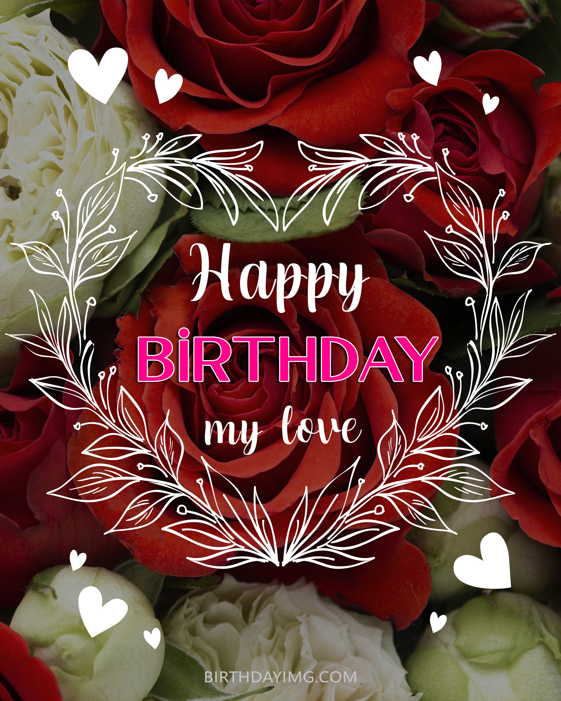 Free Happy Birthday Image With Love and Red Roses - birthdayimg.com