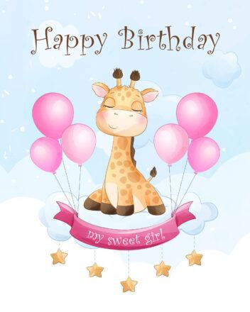 Free Happy Birthday Image For Girl With Giraffe - birthdayimg.com