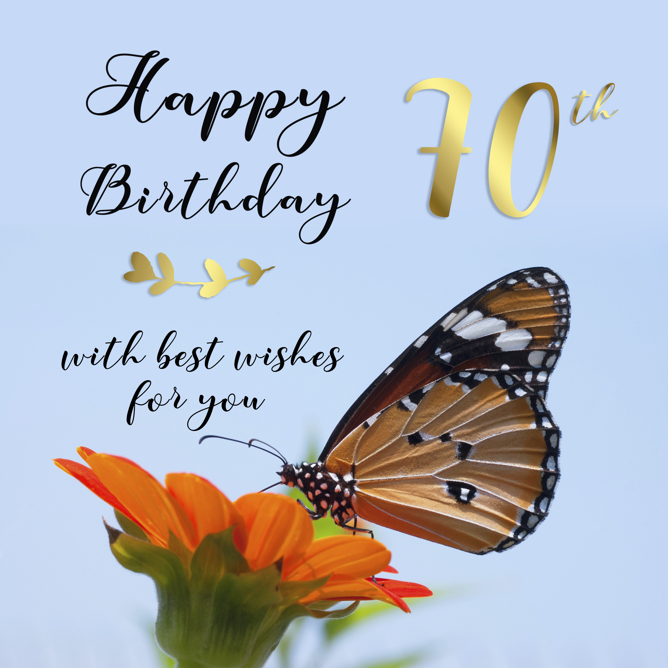 Free 70th Years Happy Birthday Image With Butterfly - birthdayimg.com