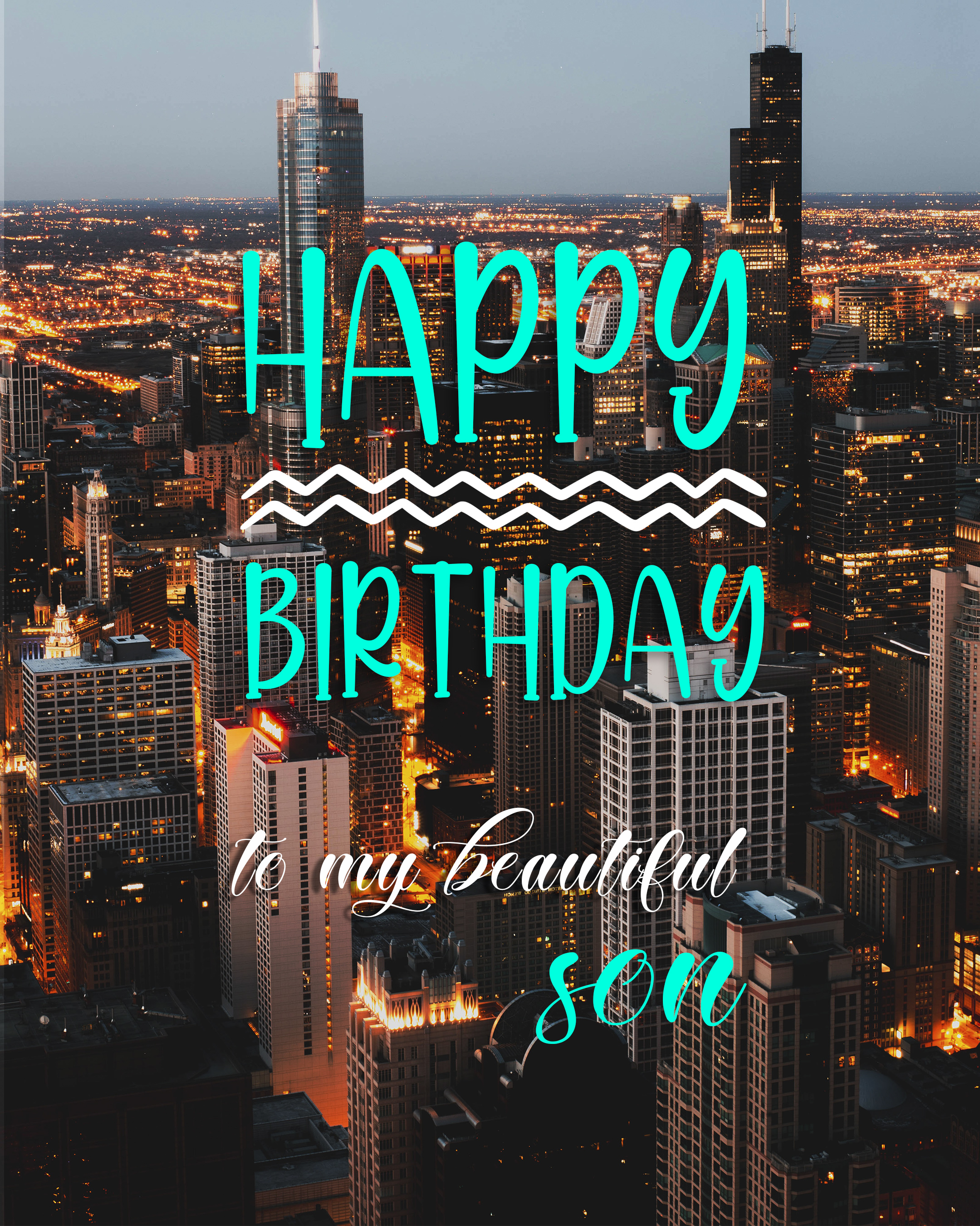Free Happy Birthday Image For Son With City Background - birthdayimg.com