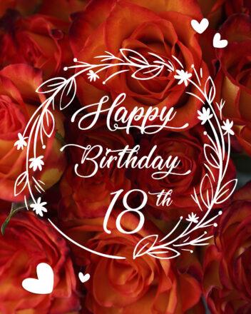 Free 18th Years Happy Birthday Image With Red Flowers - birthdayimg.com