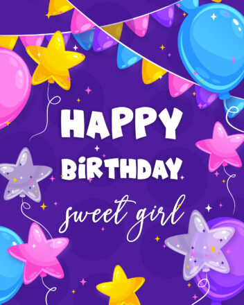 Free Happy Birthday Image For Girl With Balloons - birthdayimg.com