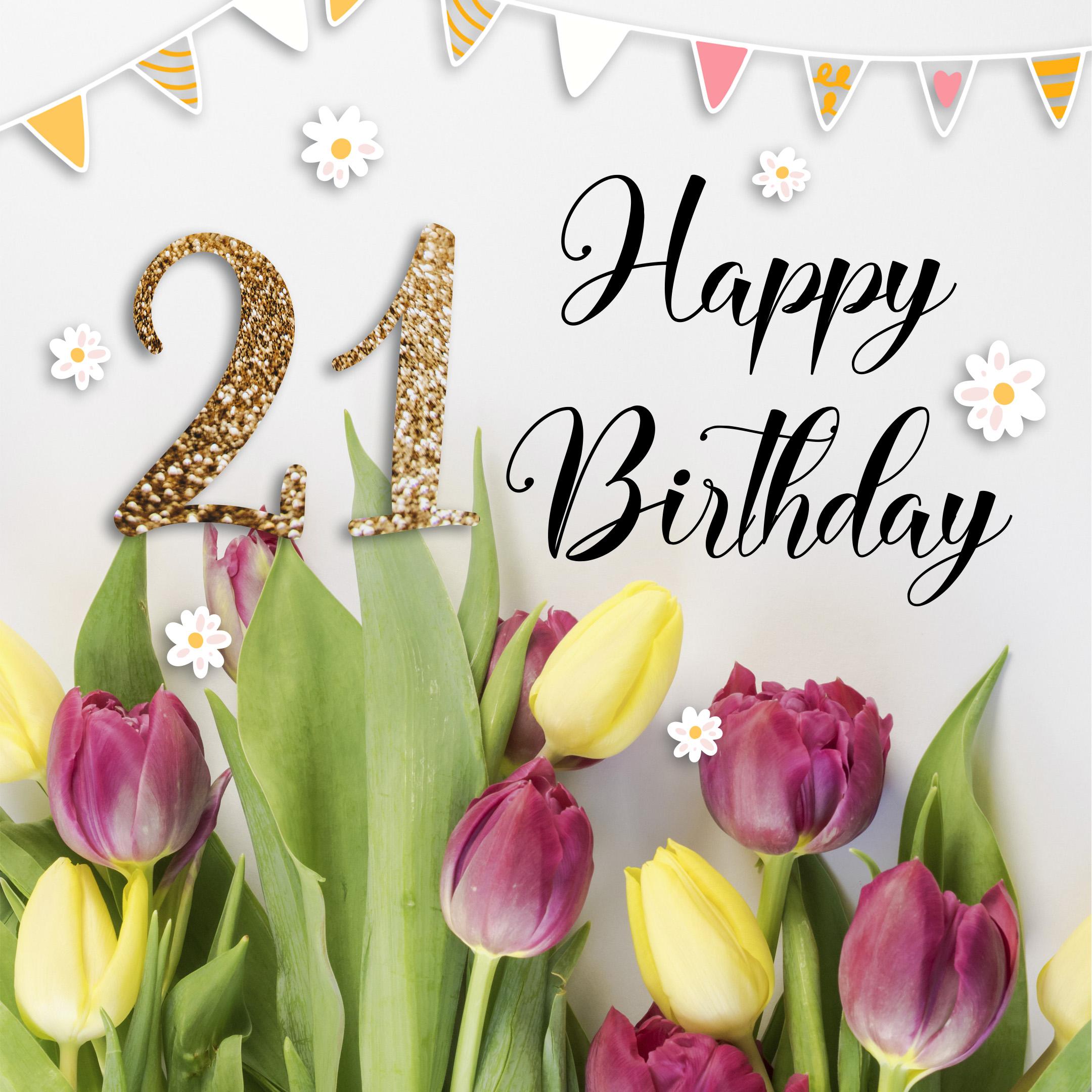 Free 21th Years Happy Birthday Image With Flowers - birthdayimg.com
