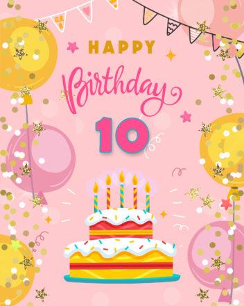 Free 10th Years Happy Birthday Image With Cake - birthdayimg.com