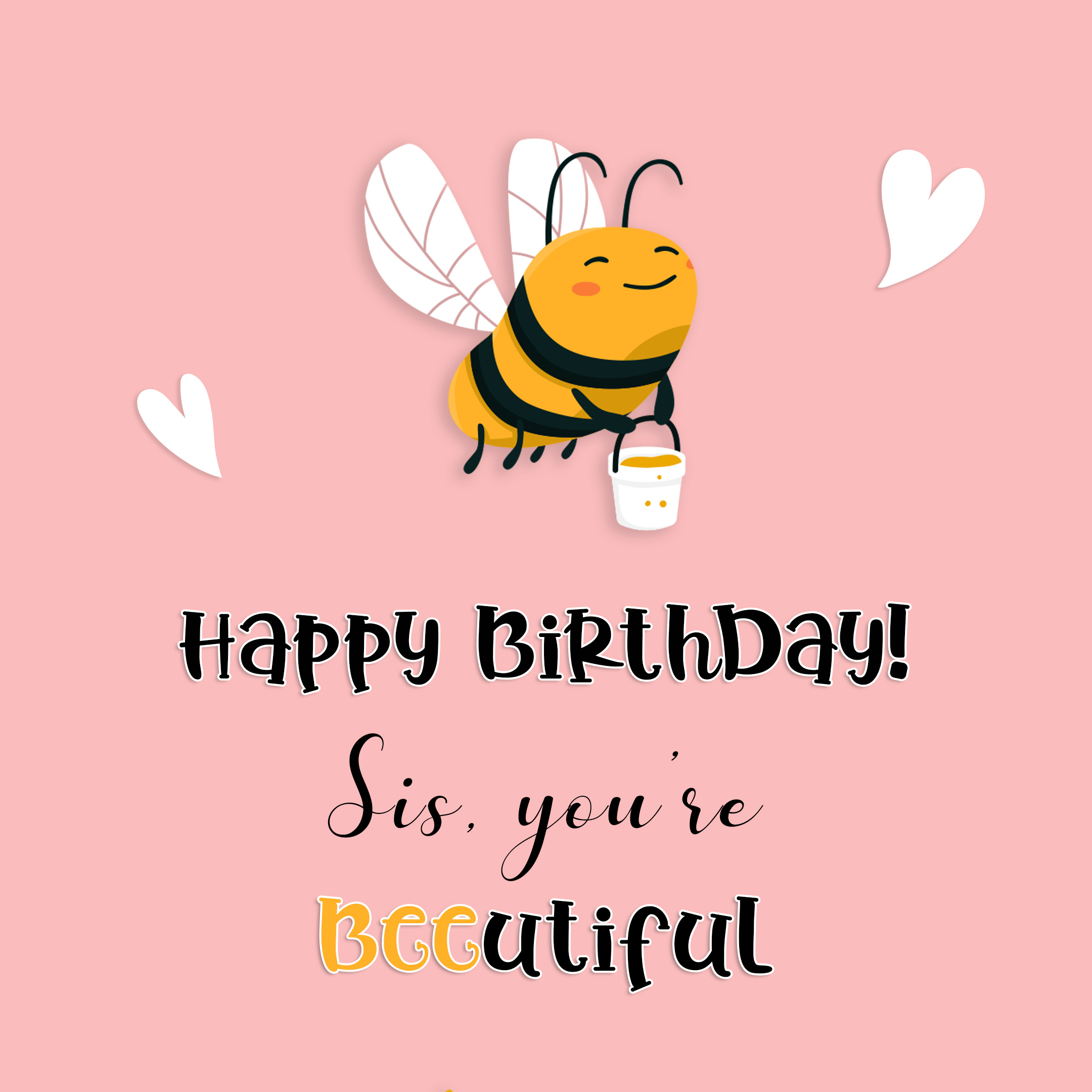 Free Funny Happy Birthday Image For Sister With Bee - birthdayimg.com