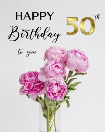Free 50th Years Happy Birthday Image With Flowers - birthdayimg.com