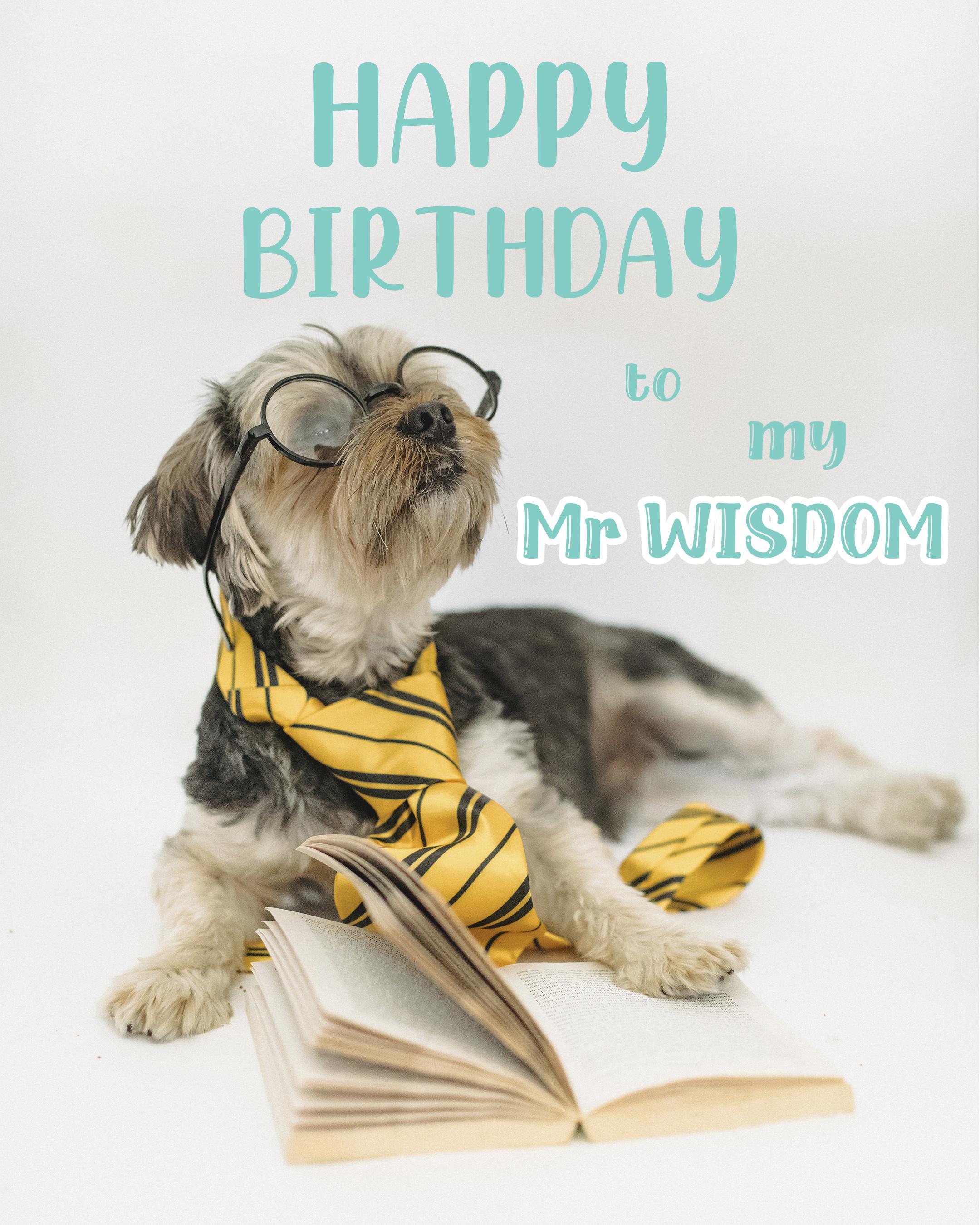 Free Cute Happy Birthday Image For Husband With Dog - birthdayimg.com