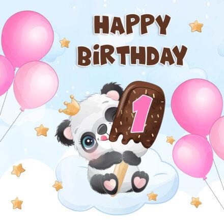 Free 1st Year Happy Birthday Image With Panda and Ice Cream - birthdayimg.com