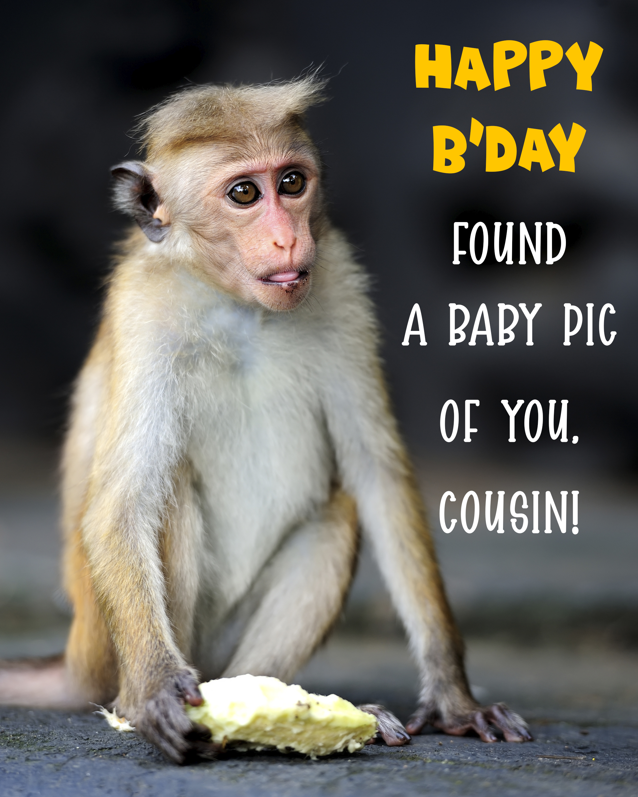 Free Funny Happy Birthday Image For Cousin With a Monkey - birthdayimg.com
