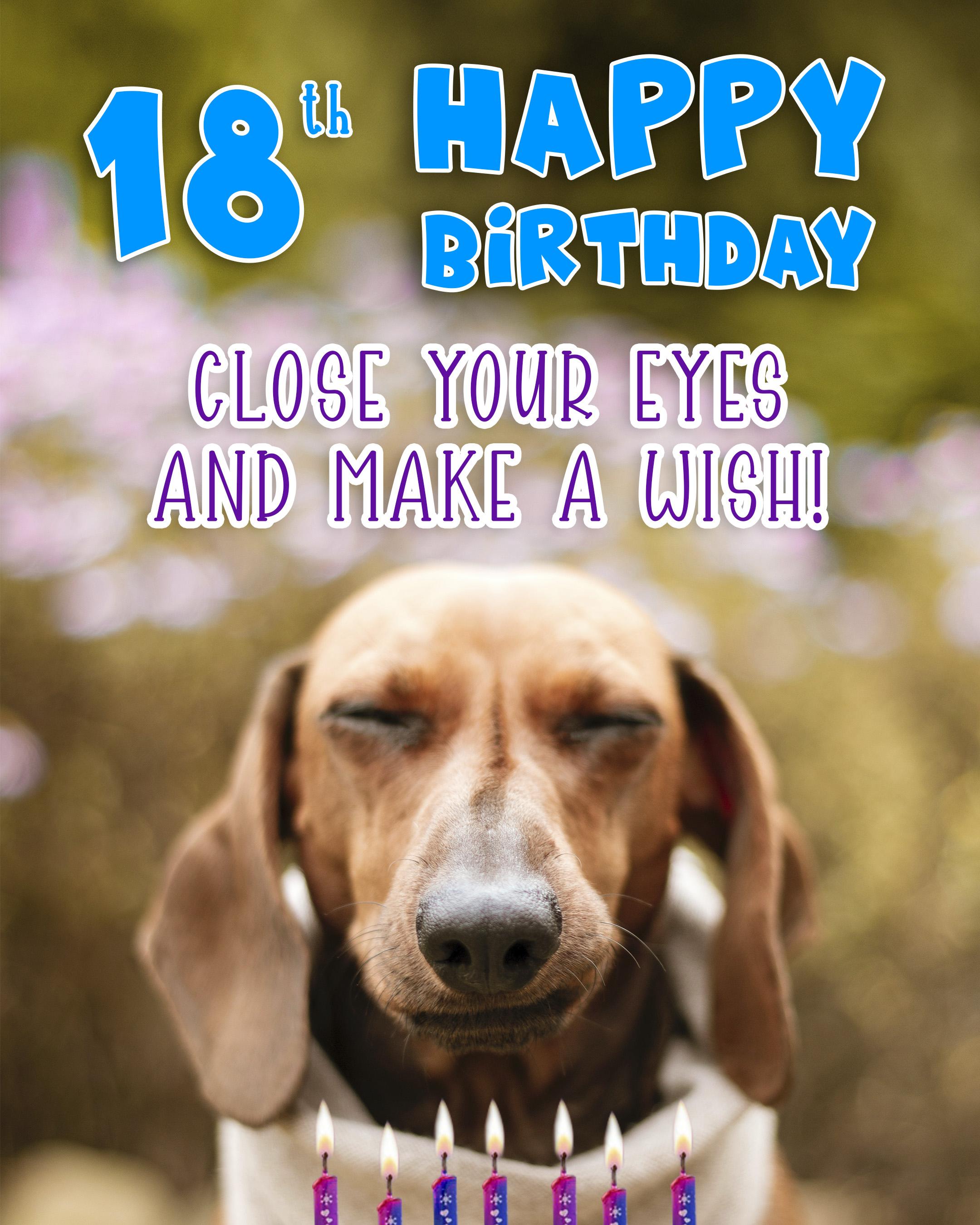 Free 18th Years Happy Birthday Image With Cute Dog - birthdayimg.com
