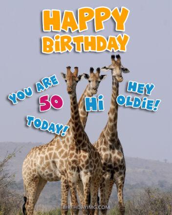 Free 50th Years Happy Birthday Image With Funny Giraffe - birthdayimg.com